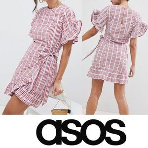 ASOS Wrap Front Frill Sleeve Skater Mini Dress 6
